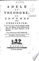 Adèle et Théodore ou Lettres sur l'education