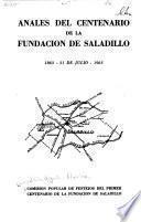 Anales del centenario de la fundación de Saladillo, 1863-31 de julio-1963