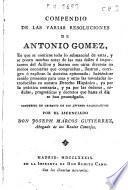 Compendio de las varias resoluciones de Antonio Gomez