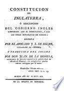 Constitucion de Inglaterra ... Traducida del ingles por don J. de la Dehesa