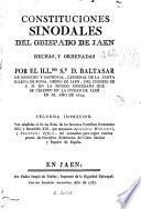 Constituciones sinodales del obispado de Jaen
