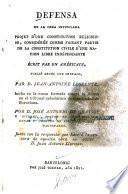 Defensa de la obra intitulada Projet d'une constitution religieuse considérée comme faisant partie de la constitution civile d'une nation libre indépendante écrit par un Américain