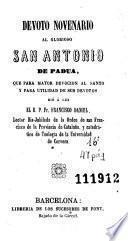 Devoto novenario al glorioso San Antonio de Padua