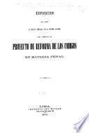 Exposición que hace la Comisión nombrada por el Supremo gobierno para formular el Proyecto de reforma de los códigos en materia penal