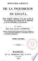 Historia critica de la Inquisicion de España