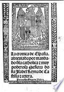 La cronica de hyspaña. G.L. MS. notes