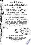 La perla de la America provincia de santa Marta