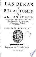 Las obras y relaciones de Anton Perez ...
