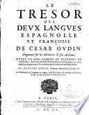 Le tresor des deux langues espagnolle et françoise