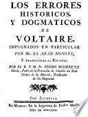 Los errores historicos y dogmaticos de Voltaire
