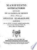 Manifiesto satisfactorio anunciado en la Gazeta de Mexico (Tom. I Núm. 53)