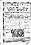 MARIA, ROSA MYSTICA, EXCELENCIAS, PODER, Y MARAVILLAS DE SV ROSARIO