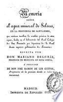 Memoria sobre el agua mineral de Solares en la provincia de Santander...