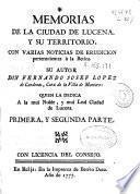 Memorias de la ciudad de Lucena y su territorio