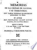Memorias De La Ciudad De Lucena. Y Su Territorio