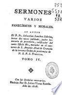 Sermones varios panegíricos y morales
