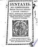 Syntaxis seu compendiaria partium orationis institutio a Joanne Torrella