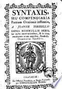 Syntaxis, seu Compendiaria partium orationis institutio